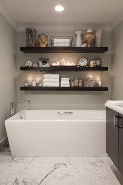 Enfield Master Bath, White marble, Subway, Freestanding Tub, Floating Shelves, Designed by Emily K. Tryson, AKBD
