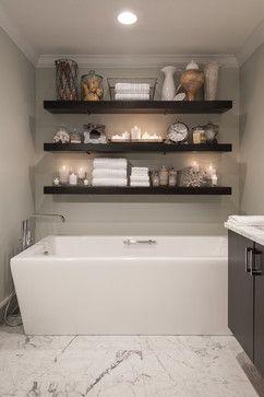 Enfield Master Bath, White marble, Subway, Freestanding Tub, Floating Shelves, Designed by Emily K. Tryson, AKBD