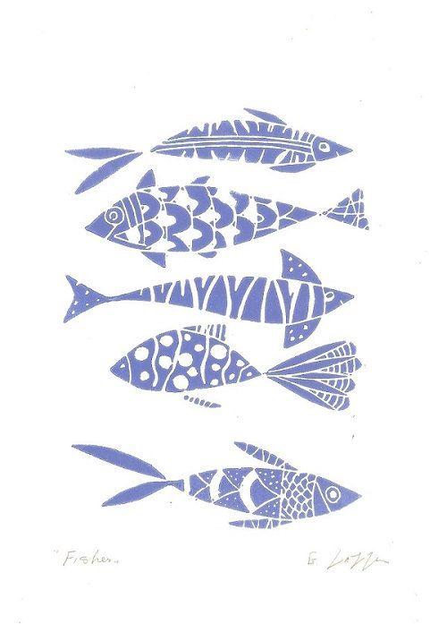 Fische Linolschnitt Originalgraphik blau von TheBluebirdGallery
