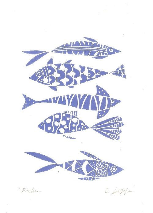 Fishes Linocut Printmaking Original Print by TheBluebirdGallery