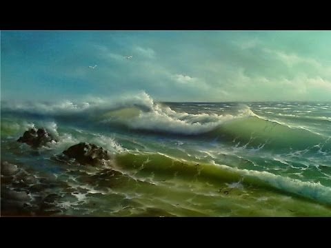 Step by step seascape painting tutorial. Wave, sea oil painting Palette knife painting with acrylic - YouTube