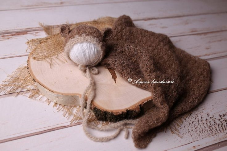 Newborn bear bonnet and wrap - crochet bear bonnet and crochet wrap - Beautiful newborn photo prop - Multiple colors - very soft alpaca wool by Amaiahandmade on Etsy