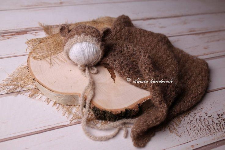 Newborn bear bonnet and wrap - crochet bear bonnet and wrap - Beautiful newborn photo prop wrap - Multiple colors - Newborn photography by Amaiahandmade on Etsy