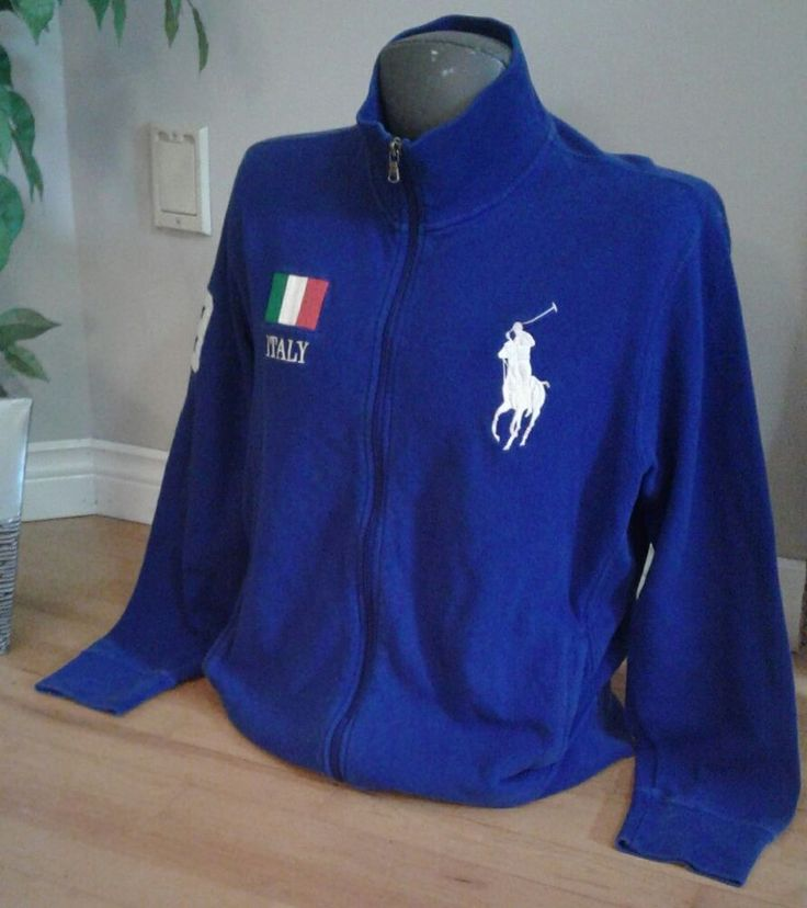 POLO Ralph Lauren XL Italy Flag #3 L/S Zippered Sweater Big Pony White Logo Blue #PoloRalphLauren #PoloRugby