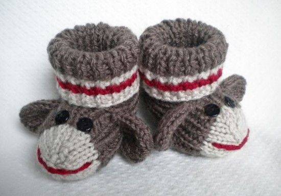 Knitted Baby Monkey Booties