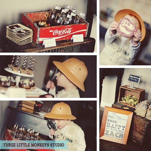 Zach's Fossil Hunter Bash - Three Little Monkeys Studio