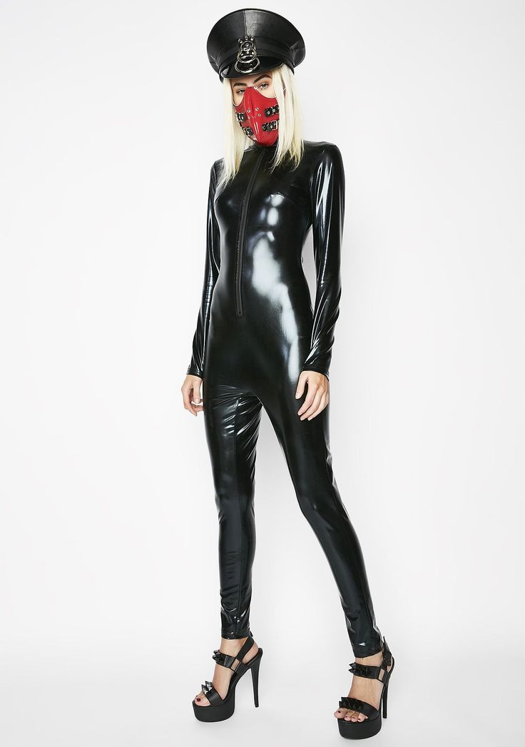 Laugh At Danger Catsuit cuz danger does not phase you. Be a daredevil with this vinyl catsuit that has long sleeves and a zip closure. #dollskill #vinyl #newarrivals #trendy #riotgirl #jadedlondon #indyanna #yru #motel #sexy #hot