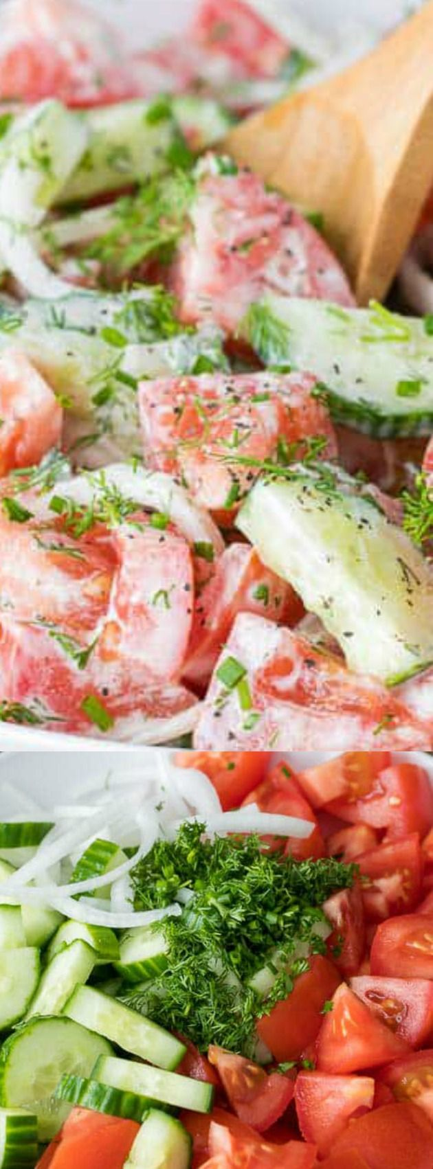 This Creamy Cucumber Tomato Salad from Spend With Pennies is the perfect side salad for any time of year. It is packed with juicy ripe tomatoes, crisp cucumbers, and fresh herbs, all topped off with a creamy dressing!