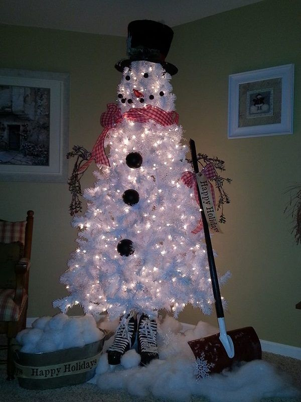 DIY Christmas Tree Snowman - http://www.interiordesignwiki.com/architecture/diy-christmas-tree-snowman/