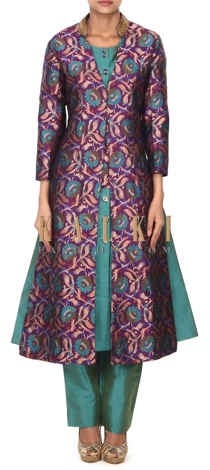 Buy this Green silk suit matched with purple brocade jacket only on Kalki