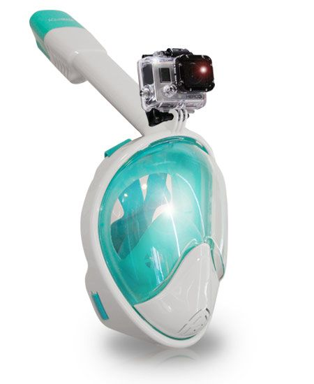 AquaMask – Full Face Snorkel Mask (White-Green)
