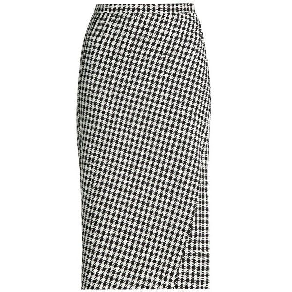 Altuzarra Vic hound's-tooth crepe skirt ($850) ❤ liked on Polyvore featuring skirts, crepe skirt, altuzarra and houndstooth skirt