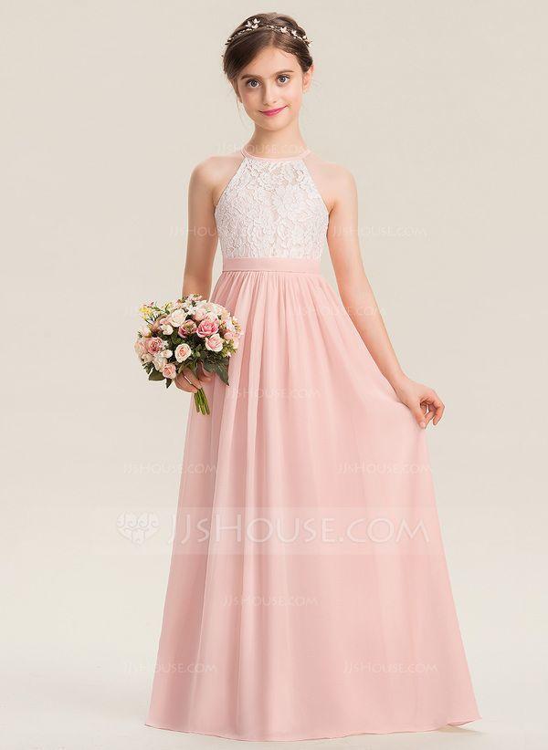 A Line Scoop Neck Bodenlangen Chiffon Lace Junior Brautjungfer Kleid In 2020 Brautjungfern Kleider Blumenmadchen Kleid Madchenkleid