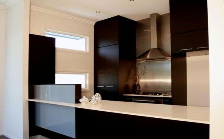 Custom built, modern kitchen, dark cabinets. Built by Imperial Kitchens Brisbane.