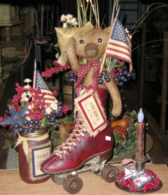 spring and summer, A few picks of things I made this spring! Take a peek!, ooak vintage handmade americana  bear in roller skate , Holiday Project