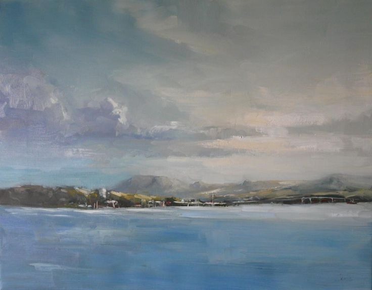 Summer Light on Derwent River, Leanne Halls, 2014. Leanne is a realist painter (not abstract) but she attempts to bring the feel of the scene through to her viewers. Her artwork is characterized by expressive brushstrokes, emotive colour schemes and lyrical compositions. Represented by Colville Gallery