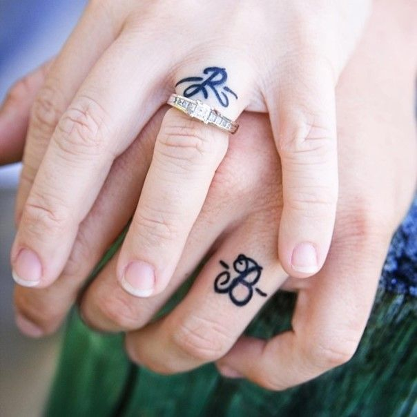 wedding band tattoo with initials