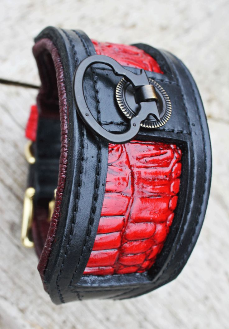 Black and red alligator embossed inlay. This collar is designed with the sighthound in mind, but can be designed to suit any breed.