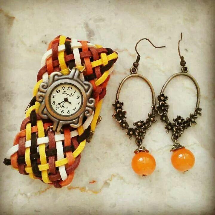 Oro-bra Orologio con fascia larga intrecciato a mano e orecchini con perline arancioni