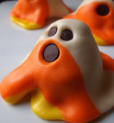 Halloween Candy Corn Ghost halloween party parties food foods recipe recipes ghouls