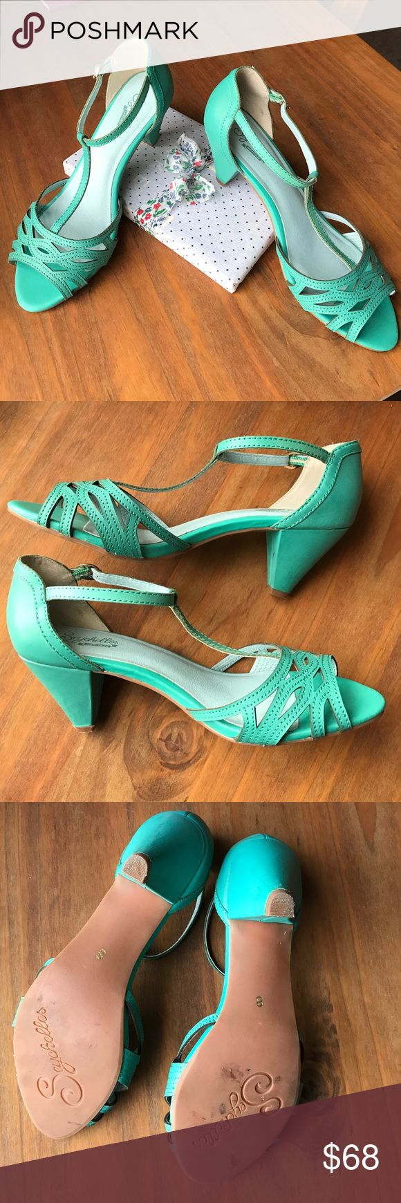 Seychelle's strapped turquoise heel. Worn once! 8 Worn once. In next to new condition. Small markings on the heels. 👠 Gorgeous shoe! Seychelles Shoes Heels