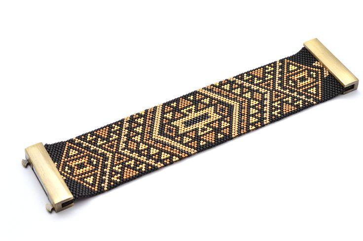 artistic-bracelet-manchette-handmade-noir-dore-aztek