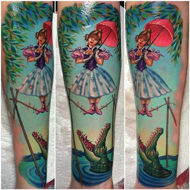 Absolutely stunning tattoo from Disneys Haunted Mansion done by @megan_massacre at Grit N Glory - 186 Orchard st NYC