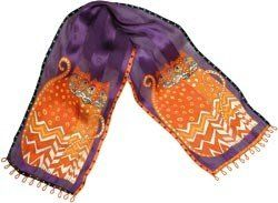 Laurel Burch Scarves-Autumn Felines-Purple by Laurel Burch. Save 25 Off!. $26.94. Made in CN. Dimensions: 14.5 in. H x 11.5 in. W x 0.1 in. D. Weight: 0.09 ounces. LAUREL BURCH-Scarves. Authentic silk art scarves elegantly created and signed by Laurel Burch. Wrap one around your waist or drape it over your shoulders. These beautiful 53x11in designer scarves will brighten anyone's day! Available in a variety of fascinating Laurel Burch designs: each sold separately. Imported.