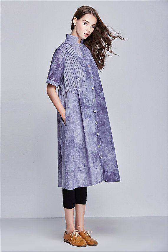 Linen Dress Linen Long Trench Coat Dress in Grey by camelliatune
