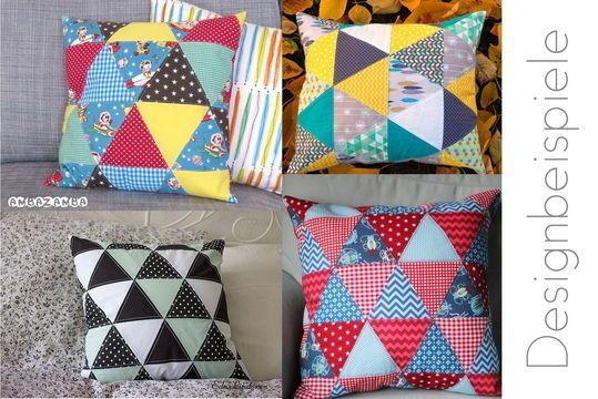 Nähanleitung: Patchworkkissen aus Dreiecken - Triangle-Kissen - Patchwork & Quilten bei Makerist