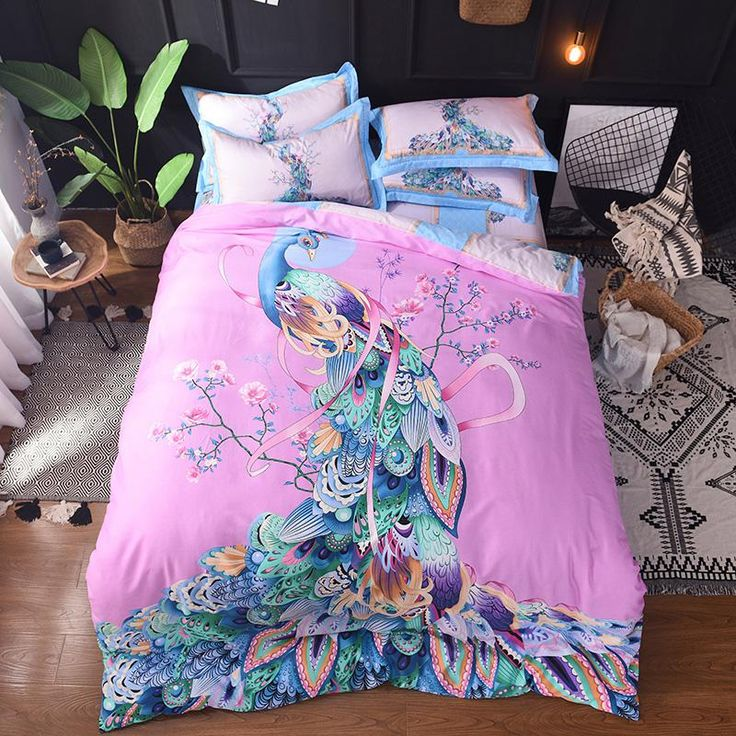 beautiful peacock bedding set 100cotton Bed Linens Queen