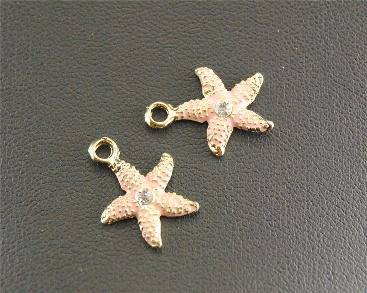 Free Shipping! 15 pcs  Gold plated Rhinestone Enamel Mini Starfish Charm DIY Metal Bracelet Necklace Jewelry Findings RS234