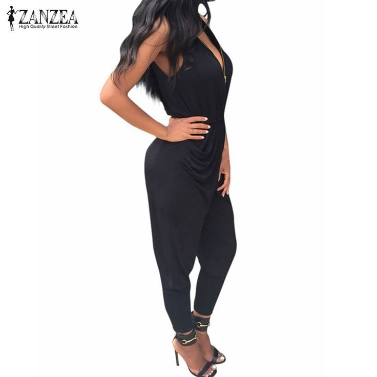 ZANZEA Women 2016 Summer Rompers Jumpsuit Sexy V Neck Sleeveless Playsuit Bodycon Casual Bodysuits Long Overalls on http://ali.pub/bp8mn