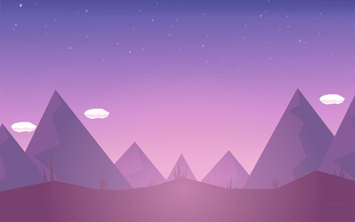 Download wallpapers mountains, minimal, creative, purple landscape
