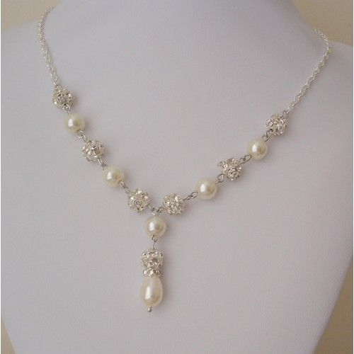 Wedding Necklace Pearl Rhinestone Bridal Necklace, Pearl Y Drop Necklace
