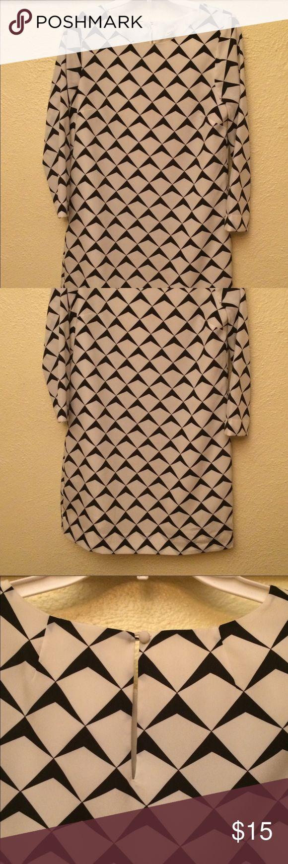 J Crew sack dress Black and cream patterned sack dress. Size 4. Worn once. J Crew Dresses