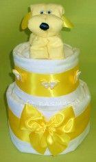 Żółciutki torcik ze ślicznym misiem. Dwa piętra pieluszek :) http://basmar-pabianice.pl