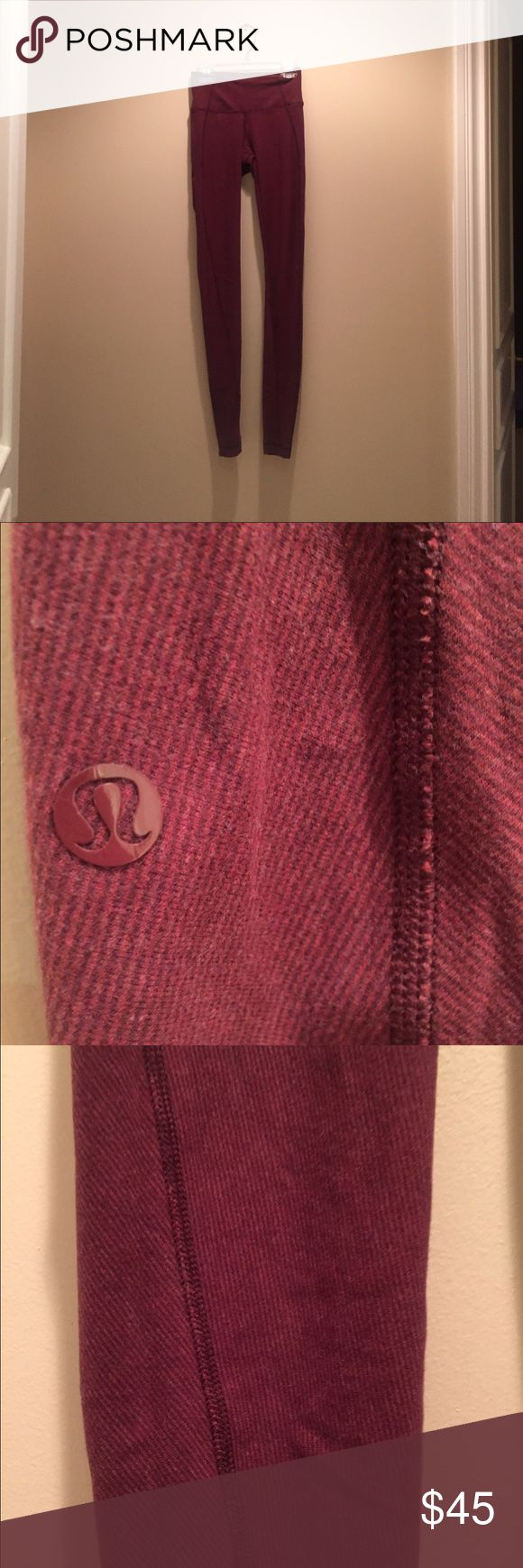 Burgandy Lulu Lemon Leggings Comfortable cotton lulu lemon leggings. Very comfortable. Limited addition. They don't manufacture these anymore. lululemon athletica Pants Leggings