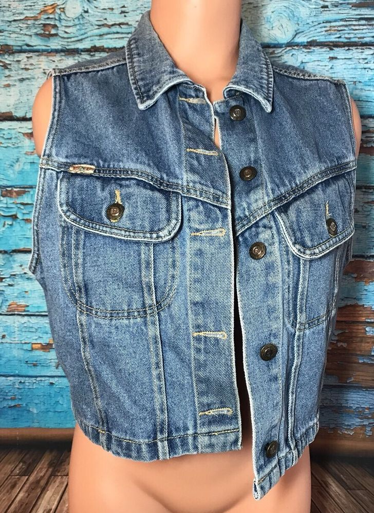 Vintage Express Women's Jean Jacket Vest Sz L Large Cropped  | eBay