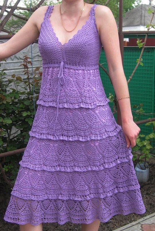 Purple Pineapple Tiers Dress free crochet graph pattern
