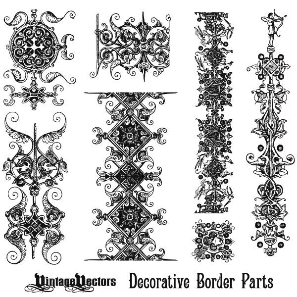 Image Result For Vintage Ornament Design Border Free Vector Art Vector Art Decorative Borders