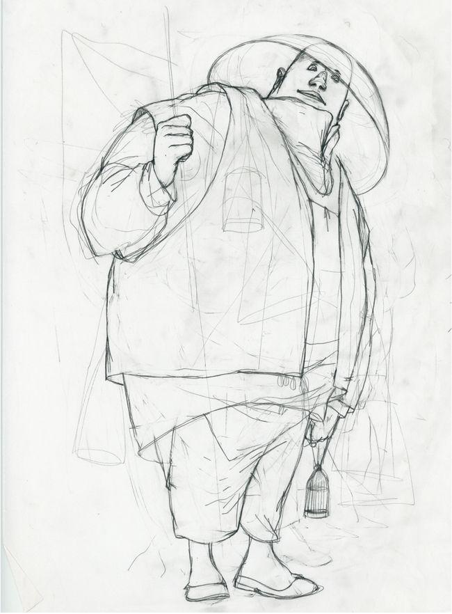 Rébecca Dautremer - Crayonné Homme oiseau | Oeuvres | Galerie Robillard