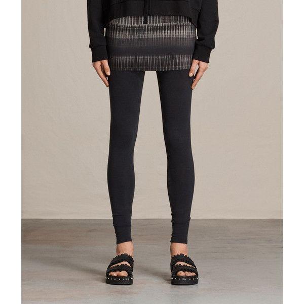 AllSaints Dusk Raffi Leggings ($85) ❤ liked on Polyvore featuring pants, leggings, black, patterned pants, long leggings, long trousers, elastic pants and print leggings