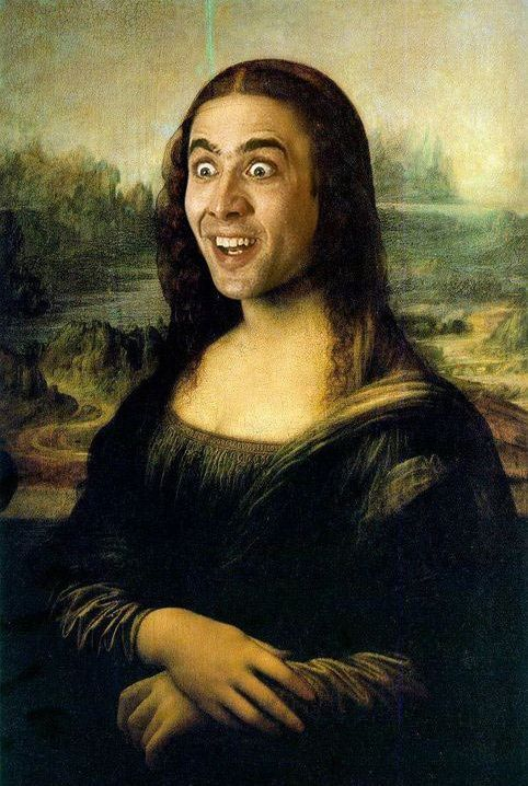 funny-Nicolas-Cage-Mona-Lisa I really want a poster of this... Someone please make this happen
