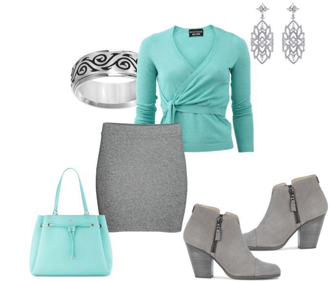 Короткая серая юбка, бирюзовый пуловер, серые ботильоны, бирюзовая сумочка, кольцо, серебряные серьги