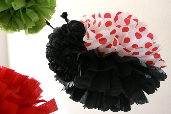 1 Large Tissue Pom Pom  PomThingy Ladybug by honeypaperieshoppe, $25.00
