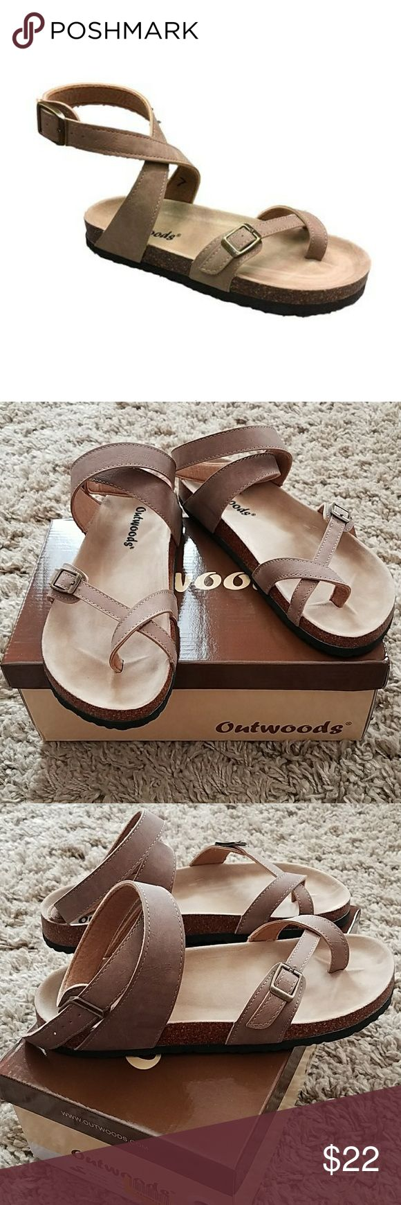*NWT* Taup Sandal Vegan Leather Outwoods Bork 39 Taup Vegan Leather. Nubuck look on straps. Suede fabric foot bed. Cork look mid sole. New, never worn. Outwoods Shoes Sandals