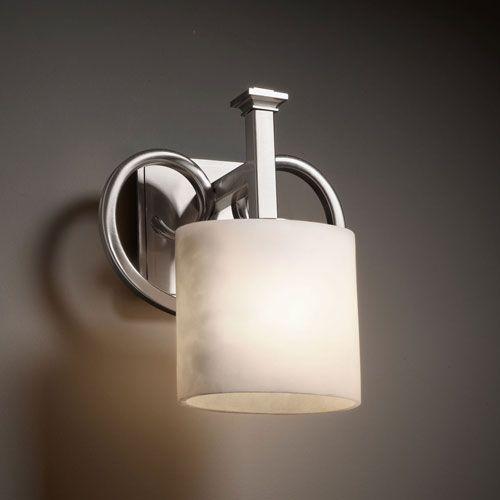 Clouds heritage brushed nickel wall sconce justice design group 1 light bathroom lighting