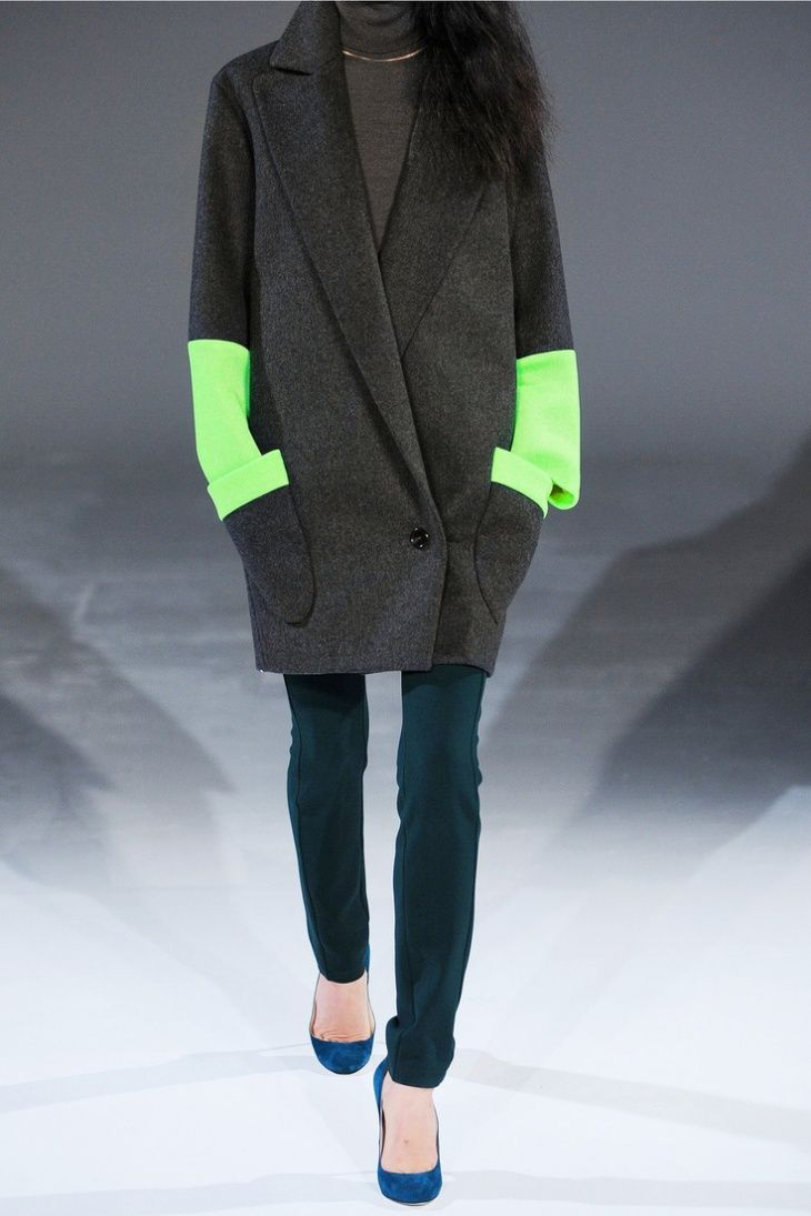 Chalayan - Signature Station Pocket neon mesh and wool-felt coat