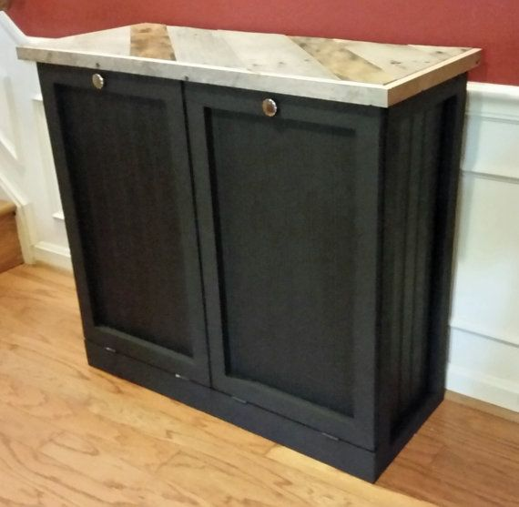 Rustic Tilt Out Trash Bin and Recycle Bin Double by Familybarnyard